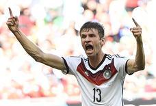 Thomas Mueller comemora gol da Alemanha contra Portugal. REUTERS/Dylan Martinez