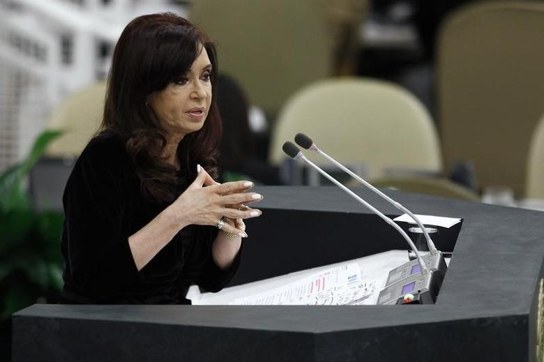 Argentina's President Cristina Fernandez de Kirchner addresses the 68th United Nations General Assembly at U.N. headquarters in New York, September 24, 2013. REUTERS/Eduardo Munoz