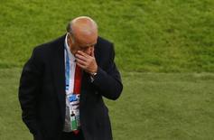 Técnico da Espanha, Vicente Del Bosque, durante partida contra o Chile no Maracanã, Rio de Janeiro. 18/6/2014 REUTERS/Ricardo Moraes