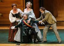 "Singers (L-R) Monika Bohinec as Magdalena, Anna Gabler as Eva, Roberto Sacca as Walther von Stolzing and Peter Sonn as David perform on stage during a dress rehearsal of Richard Wagner's opera ""Die Meistersinger von Nuernberg"" in Salzburg in this July 29, 2013 file photo. REUTERS/Dominic Ebenbichler"