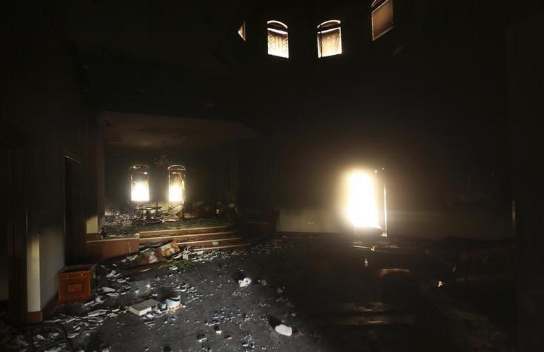 An interior view of the U.S. consulate, which was attacked and set on fire by gunmen in Benghazi September 12, 2012.  REUTERS/Esam Al-Fetori