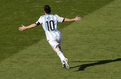 Lionel Messi, da seleção argentina, comemora gol marcado contra o Irã em Belo Horizonte. REUTERS/Leonhard Foeger