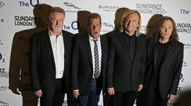 "Members of the band The Eagles (L - R) Don Henley, Glenn Frey, Joe Walsh and Timothy B. Schmit attend the premiere of the film ""History of the Eagles Part One"" during Sundance London, at the O2 Arena in London in April 25, 2013  REUTERS/Stefan Wermuth"