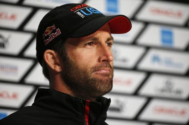 Oracle Team USA tactician Ben Ainslie speaks to members of the media after winning Race 18 of the 34th America's Cup yacht sailing race against Emirates Team New Zealand in San Francisco, California September 24, 2013. REUTERS/Stephen Lam