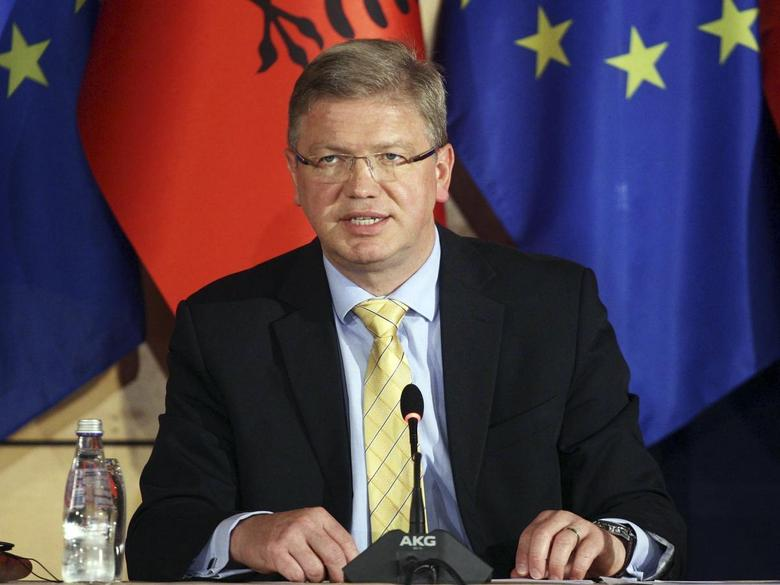 European Union Enlargement Commissioner Stefan Fuele speaks during a news conference with Albania's Prime Minister Edi Rama (not pictured) in Tirana June 4, 2014. REUTERS/Arben Celi