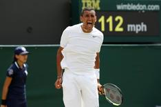 Nick Kyrgios of Australia reacts during his men's singles tennis match against Richard Gasquet of France at the Wimbledon Tennis Championships, in London June 26, 2014.REUTERS/Suzanne Plunkett