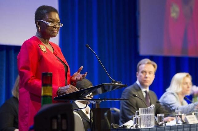 U.N. humanitarian chief Valerie Amos addresses a donor conference for South Sudan, in Oslo May 20, 2014. REUTERS/Hakon Mosvold Larsen/NTB Scanpix