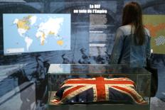 "A Union Jack is presented in the exhibition ""Join Now! The British Empire's Entry into The War"" at the Museum of the Great War in Meaux, near Paris, June 23, 2014.  REUTERS/Benoit Tessier"
