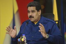 Presidente da Venezuela, Nicolás Maduro, durante entrevista coletiva no Palácio Miraflores, em Caracas. 27/6/2014. REUTERS/Palácio Miraflores