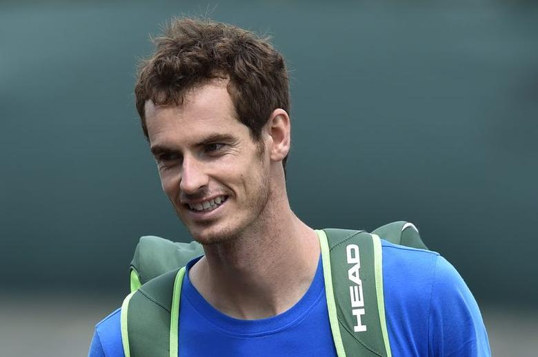 Andy Murray of Britain leaves practice at the Wimbledon Tennis Championships in London June 29, 2014. REUTERS/Toby Melville