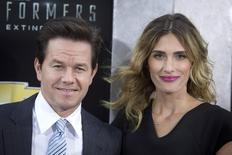 "Actor Mark Wahlberg and wife Rhea Durham arrive for the premiere of the movie ""Transformers: Age of Extinction"" in New York June 25, 2014.     REUTERS/Carlo Allegri"