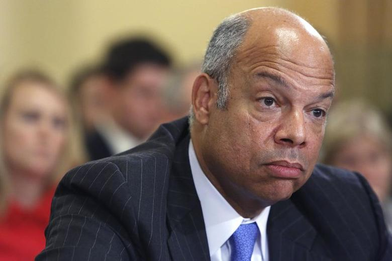 U.S. Homeland Security Secretary Jeh Johnson testifies at a House Homeland Security Committee hearing on unaccompanied minors crossing the border into the U.S., on Capitol Hill in Washington June 24, 2014.  REUTERS/Jonathan Ernst