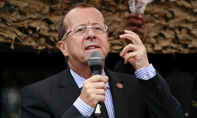 U.N. special envoy to Congo, Martin Kobler, addresses troops during a special parade for their slain colleague Major Hatim Shaban from Tanzania killed in an operation with the Congolese army to drive back M23 rebels in Munigi outside Goma in the eastern Democratic Republic of Congo, August 31, 2013. REUTERS/Thomas Mukoya