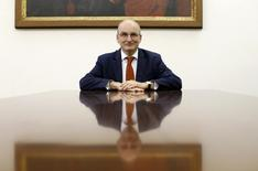 President of the Vatican bank Ernst von Freyberg poses in his office at the Vatican in this June 10, 2013 file photo.  REUTERS/Tony Gentile/Files