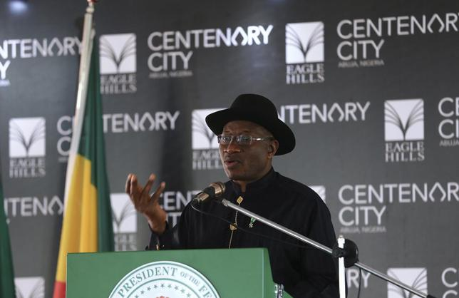 Nigeria's President Goodluck Jonathan speaks during the groundbreaking ceremony of the Centenary City project in Abuja June 24, 2014. Picture taken June 24, 2014. REUTERS/Afolabi Sotunde