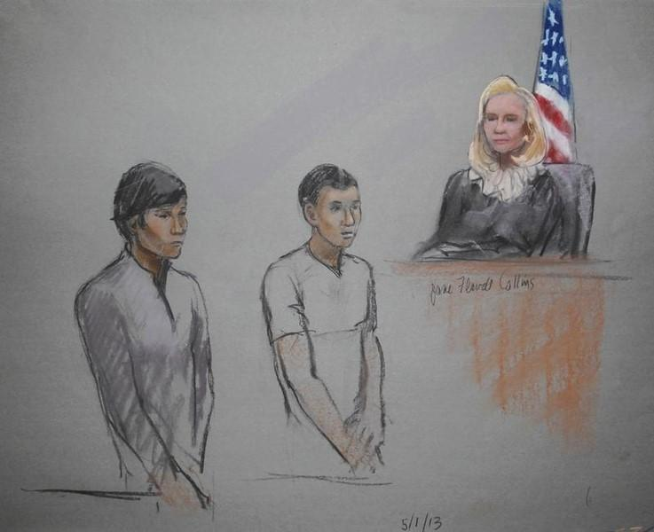 Defendants Dias Kadyrbayev (L) and Azamat Tazhayakov are pictured in a courtroom sketch, appearing in front of Federal Magistrate Marianne Bowler at the John Joseph Moakley United States Federal Courthouse in Boston, Massachusetts May 1, 2013 file photo. REUTERS/Jane Flavell Collins