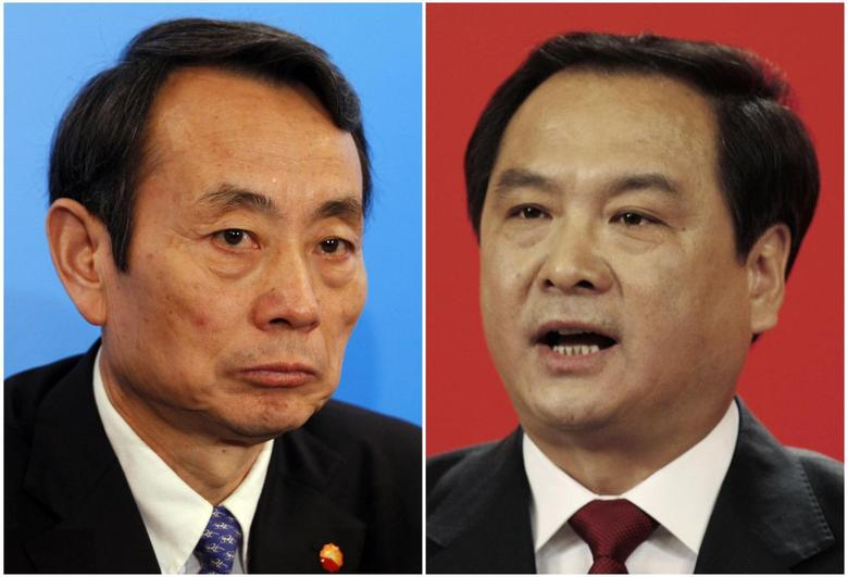 A combination of file photographs show then PetroChina Chairman Jiang Jiemin attending a news conference announcing the company's results in Hong Kong March 25, 2010 (L), and then Congress spokesman Li Dongsheng answering a question during a news conference on the eve of the 17th National Congress of the Communist Party of China (CPC) in Beijing October 14, 2007. REUTERS/Bobby Yip (L)/Claro Cortes IV/Files