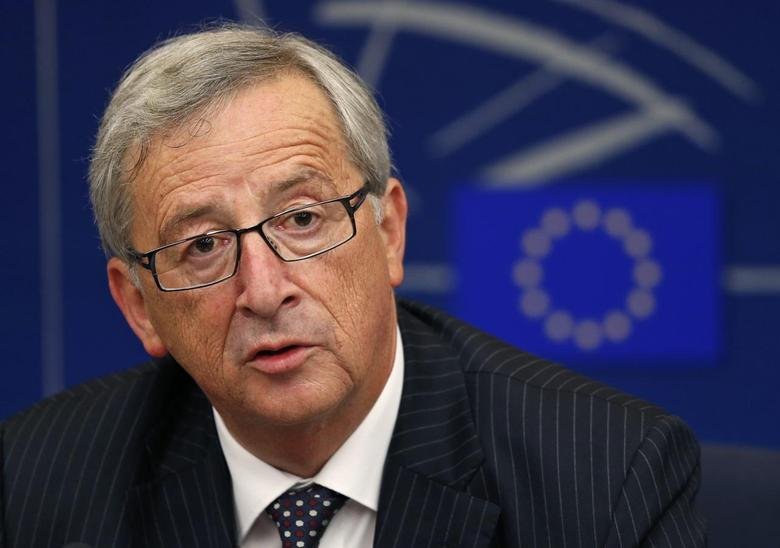 Elected president of the European Commission Jean-Claude Juncker answers journalists questions during a press briefing after his election at the European Parliament in Strasbourg, July 15, 2014.   REUTERS/Vincent Kessler