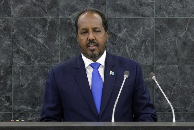 Hassan Sheikh Mohamud, President of Somalia, addresses the 68th United Nations General Assembly at U.N. headquarters in New York, September 26, 2013.            REUTERS/Justin Lane/Pool