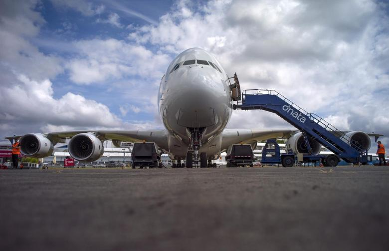 An Airbus Industrie A380 aircraft stands parked at the 2014 Farnborough International Airshow in Farnborough, southern England July 13, 2014.    REUTERS/Kieran Doherty