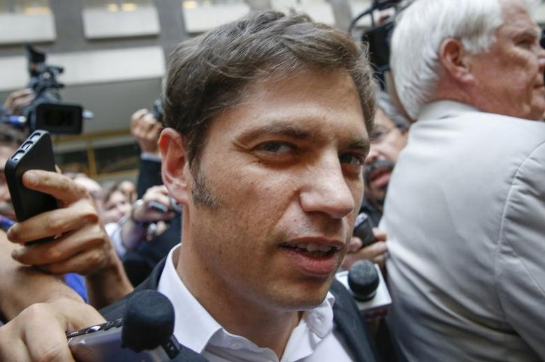 Argentina's Economy Minister Axel Kicillof leaves the office of a court-appointed mediator in the country's dispute with holdout investors of its bonds, in New York July 7, 2014.  REUTERS/Shannon Stapleton