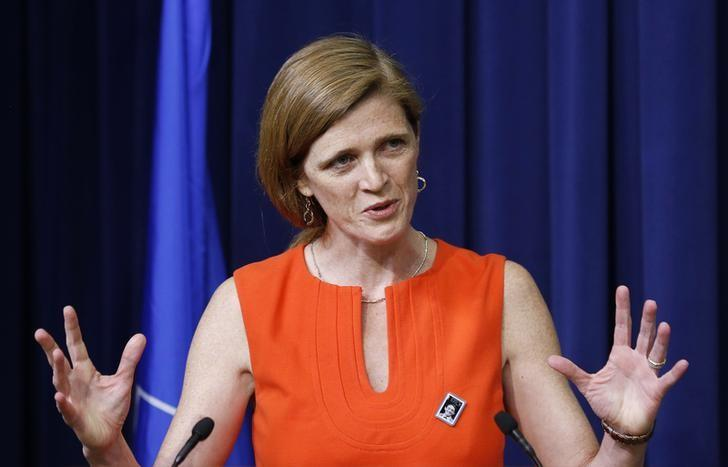 U.S. Ambassador to the U.N. Samantha Power speaks before she helps unveiling the Harvey Milk Forever Stamp at its dedication ceremony at the White House in Washington May 22, 2014 file photo. REUTERS/Larry Downing