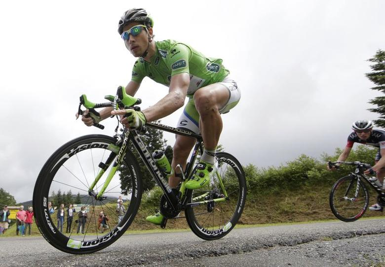 Cannondale team rider Peter Sagan of Slovakia cycles during the 161.5-km tenth stage of the Tour de France cycling race between Mulhouse and La Planche Des Belles Filles July 14, 2014.                 REUTERS/Jacky Naegelen