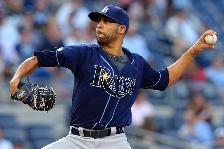 Tampa Bay Rays starting pitcher David Price (14) pitches against the New York Yankees during the first inning at Yankee Stadium. Jul 1, 2014; Bronx, NY, USA; Brad Penner-USA TODAY Sports