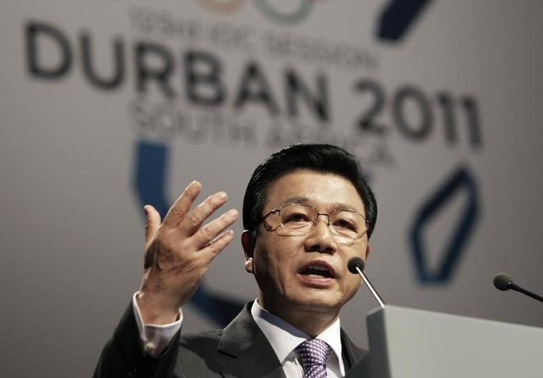 Special ambassador Kim Jin-sun speaks during the Pyeongchang bid city presentation to the 123rd International Olympic Committee (IOC) session in Durban, July 6, 2011.  REUTERS/Rogan Ward