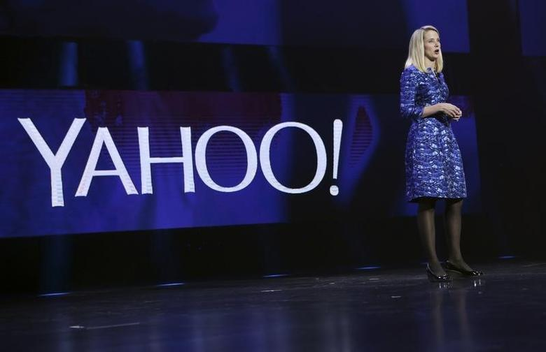 Yahoo CEO Marissa Mayer delivers her keynote address at the annual Consumer Electronics Show (CES) in Las Vegas, Nevada January 7, 2014. REUTERS/Robert Galbraith/Files