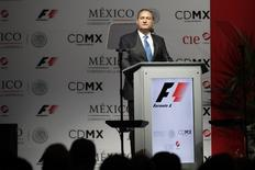 O presidente da empresa de eventos CIE, Alejandro Soberon, anuncia que o México vai retornar ao calendário da Fórmula 1 em 2015, na Cidade do México, nesta quarta-feira. 23/07/2014 REUTERS/Daniel Becerril