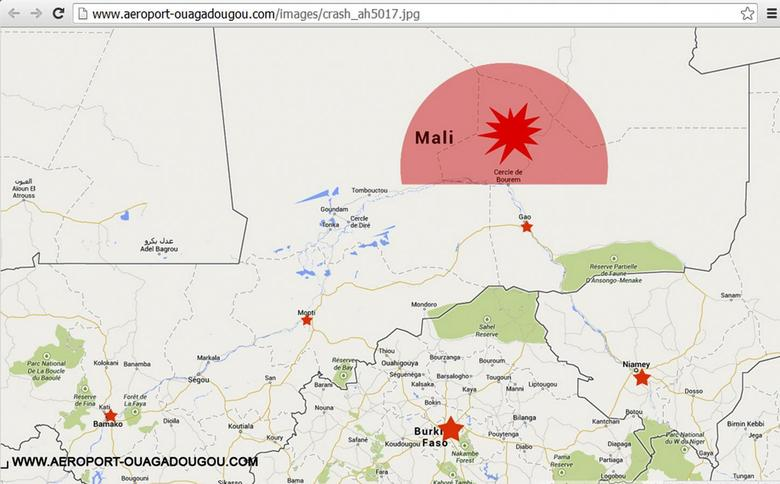 A screengrab of the homepage of the Ouagadougou airport's Internet site (http://www.aeroport-ouagadougou.com) shows a map displaying AH5017's last contact zone, July 24, 2014. REUTERS/Ouagadougou airport