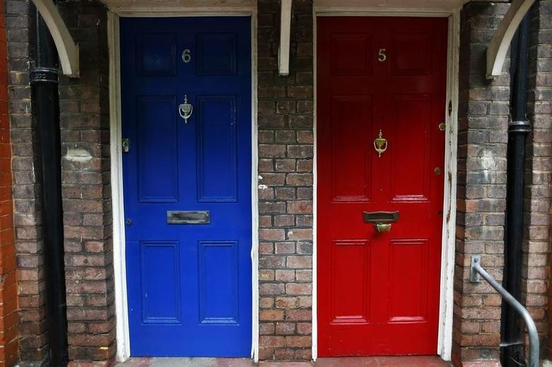 Neighbouring blue and a red front doors are seen in south London June 3, 2014.  REUTERS/Andrew Winning
