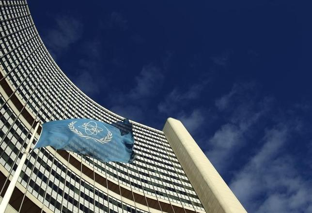 The flag of the International Atomic Energy Agency (IAEA) flies in front of its headquarters during a board of governors meeting in Vienna November 28, 2013.  REUTERS/Heinz-Peter Bader