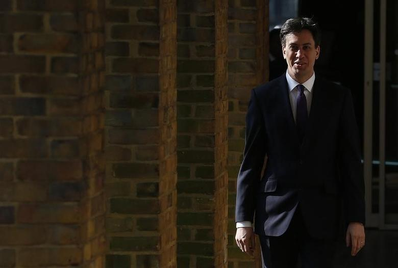 Britain's opposition Labour Party Leader Ed Milliband arrives to speak at the London Business School in London March 12, 2014.   REUTERS/Suzanne Plunkett
