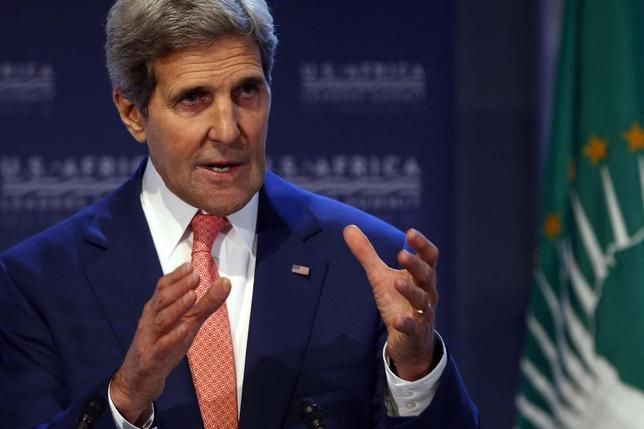 U.S. Secretary of State John Kerry addresses a forum on food security, climate change and resilience during the U.S.-Africa Leaders Summit in Washington August 4, 2014. REUTERS/Jonathan Ernst