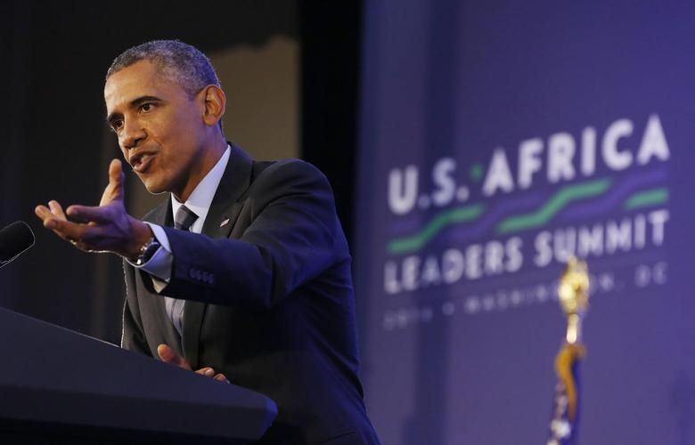 U.S. President Barack Obama holds a news conference at the conclusion of the the U.S.-Africa Leaders Summit at the State Department in Washington, August 6, 2014.        REUTERS/Larry Downing