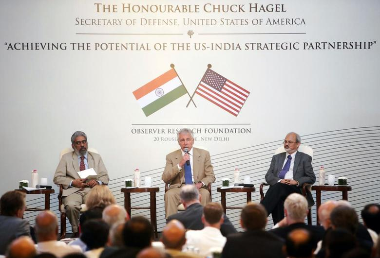 U.S. Secretary of Defense Chuck Hagel (C) delivers an address on ''Achieving the Potential of the US-India Strategic Partnership'' during a conference organised by the Observer Research Foundation in New Delhi August 9, 2014. REUTERS/Anindito Mukherjee