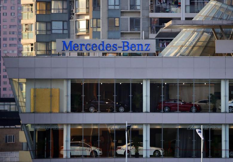 A Mercedez-Benz sign is seen at a dealership in downtown Shanghai in this August 5, 2014 file photo. To match CHINA-ANTITRUST/RAIDS  REUTERS/Carlos Barria/Files