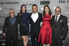 "(L-R) Show creator Tom Perrotta, actors Liv Tyler, Justin Theroux and Amy Brenneman and show creator Damon Lindelof attend the NY Season Premiere of HBO's ""The Leftovers"" in New York June 23, 2014. REUTERS/Andrew Kelly"