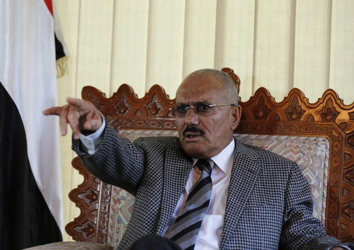 Yemen's former President Ali Abdullah Saleh gestures as he talks during an interview with Reuters in Sanaa May 21, 2014. REUTERS/Khaled Abdullah