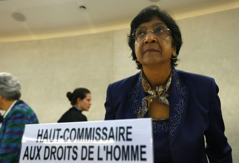 U.N. High Commissioner for Human Rights Navi Pillay arrives for the 21st Special Session of the Human Rights Council on the human rights situation in the Palestinian Territories at the United Nations Office in Geneva July 23, 2014. REUTERS/Denis Balibouse