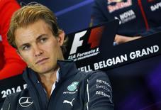 O piloto alemão de Fórmula 1 da Mercedes Nico Rosberg concede entrevista coletiva antes do Grande Prêmio da Bélgica, em Spa-Francorchamps, nesta quinta-feira. 21/08/2014 REUTERS/Yves Herman