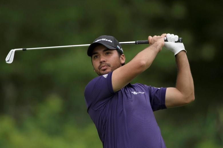 Aug 22, 2014; Paramus, NJ, USA; Jason Day tees off on the fifth hole during the second round of The Barclays golf tournament at Ridgewood Country Club.  Tommy Gilligan-USA TODAY Sports