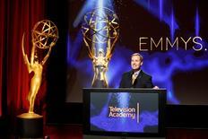 Maury McIntyre, presidente da Academia de TV dos EUA, discursa no anúncio dos indicados ao Emmy de 2014.   REUTERS/Danny Moloshok