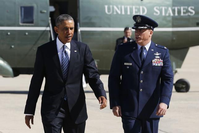 8月27日、オバマ米政権は、イラクとシリアで支配地域を広げているイスラム教スンニ派過激派組織「イスラム国」掃討に向け、各国との協力体制を強化する方針だ。26日撮影(2014年 ロイター/Larry Downing)