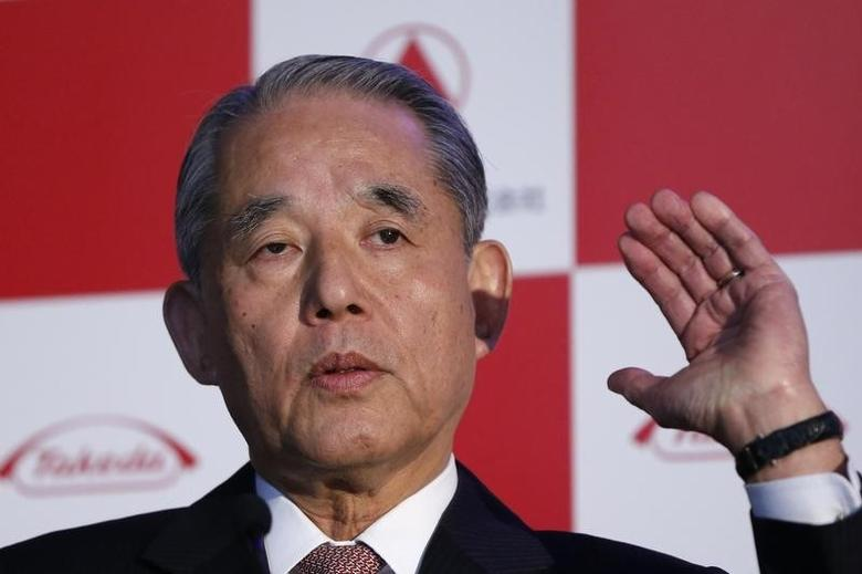 Yasuchika Hasegawa, next chairman and current CEO and president of Takeda Pharmaceutical Co., speaks during a news conference in Tokyo April 2, 2014. REUTERS/Issei Kato