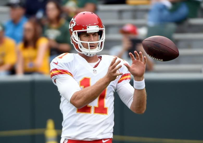 Aug 28, 2014; Green Bay, WI, USA; Kansas City Chiefs quarterback Alex Smith (11) warms up before game against the Green Bay Packers at Lambeau Field. Mandatory Credit: Benny Sieu-USA TODAY Sports