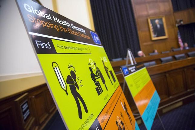 U.S. Centers for Disease Control and Prevention (CDC) educational materials are displayed at a hearing of a House Foreign Affairs subcommittee, about the Ebola crisis in West Africa, on Capitol Hill in Washington August 7, 2014. REUTERS/Jonathan Ernst