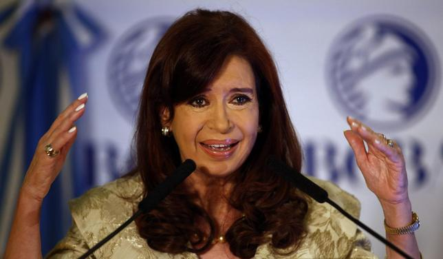 Argentina's President Cristina Fernandez de Kirchner speaks during a ceremony at Buenos Aires' Stock Exchange, August 20, 2014. REUTERS/Marcos Brindicci
